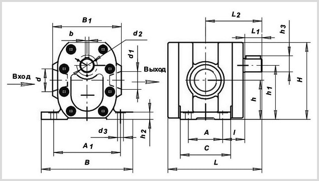 чертеж и размеры гидравлического шестеренчатого насоса Г11-25 УХЛ-4