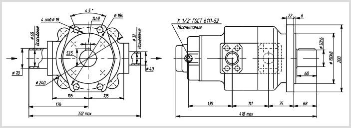 чертеж и размеры масляного однопоточного гидравлического насоса г12 габарит 3