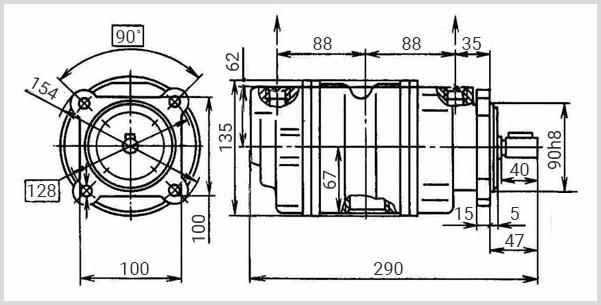 чертеж и размеры пластинчатого двухпоточного гидронасоса г12 габарит 1+1