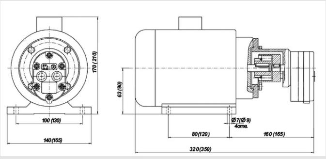 Схема насосного агрегата БГ11 на раме с мотором  с креплением на лапах