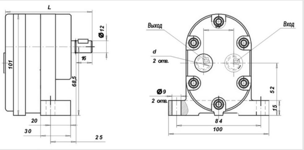Монтажные размеры насоса смазки Г11 на 0,5 МПа