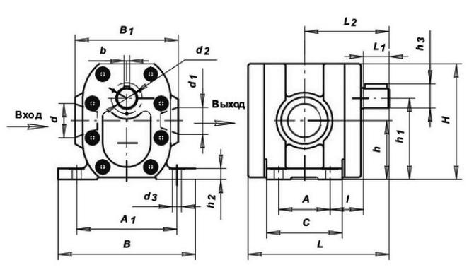Крепежные размеры гидравлического насоса Г11 на 2,5 МПа
