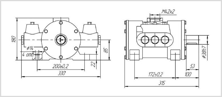 Габаритные размеры и чертеж гидравлического эксцентрикового насоса Н403У УХЛ4 для подачи СОЖ. Фото