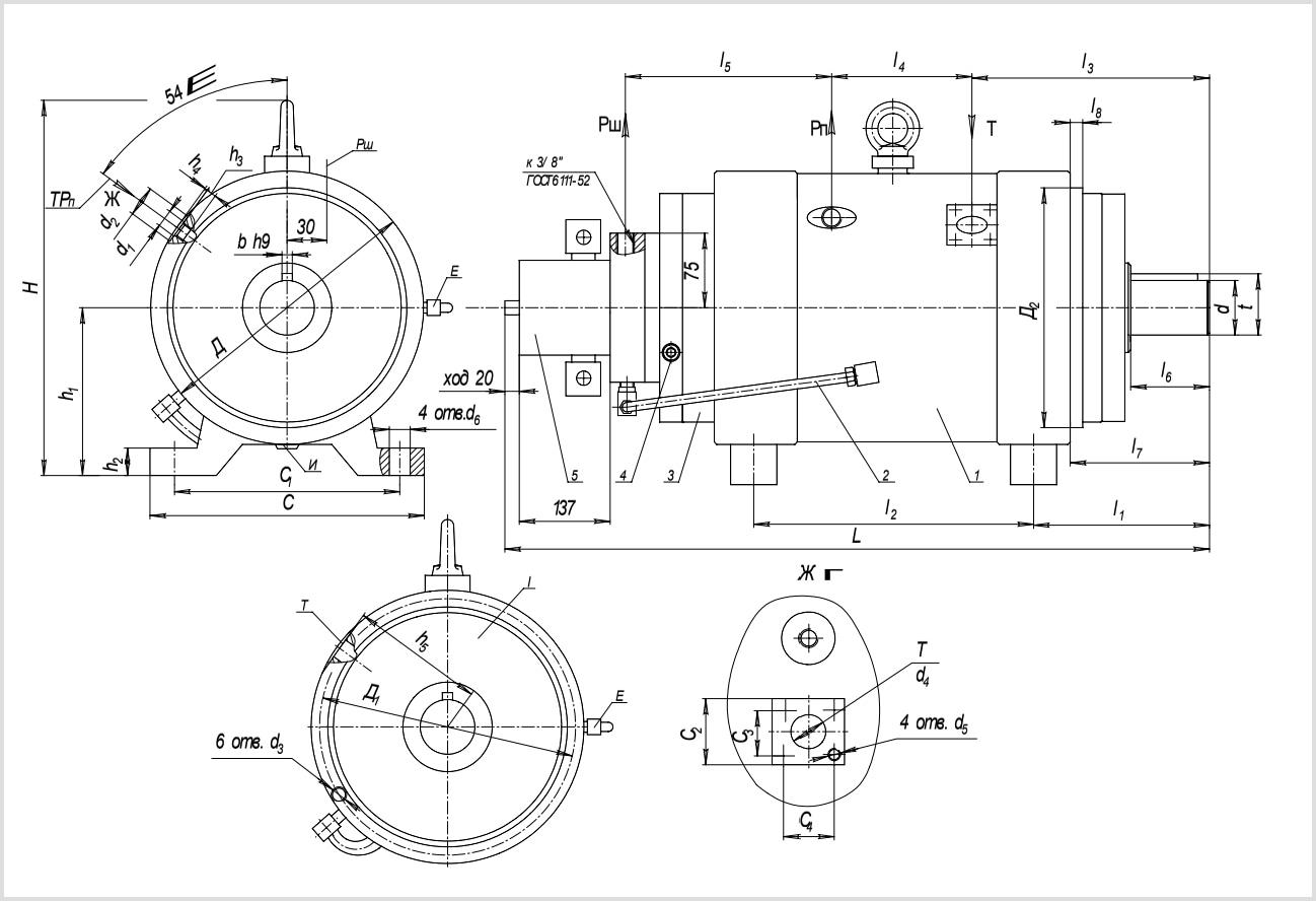 Чертеж и размеры плунжерного насоса НАС74М-224/32 со следящим механизмом регулировки подачи