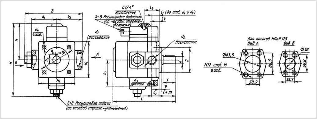 чертеж и габаритные размеры насосов пластинчатых регулируемых типа НПлР