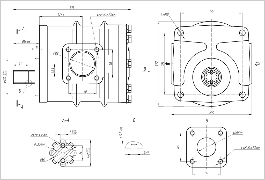 Габаритные, присоединительные и монтажные размеры гидравлического насоса НШ-250