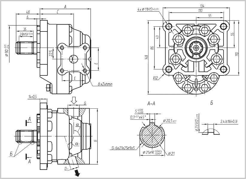 Габаритные, присоединительные и монтажные размеры гидравлического насоса НШ 50 плоского