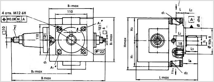 Чертеж и размеры гидравлического масляного насоса Г12-55АМ с регулируемой подачей