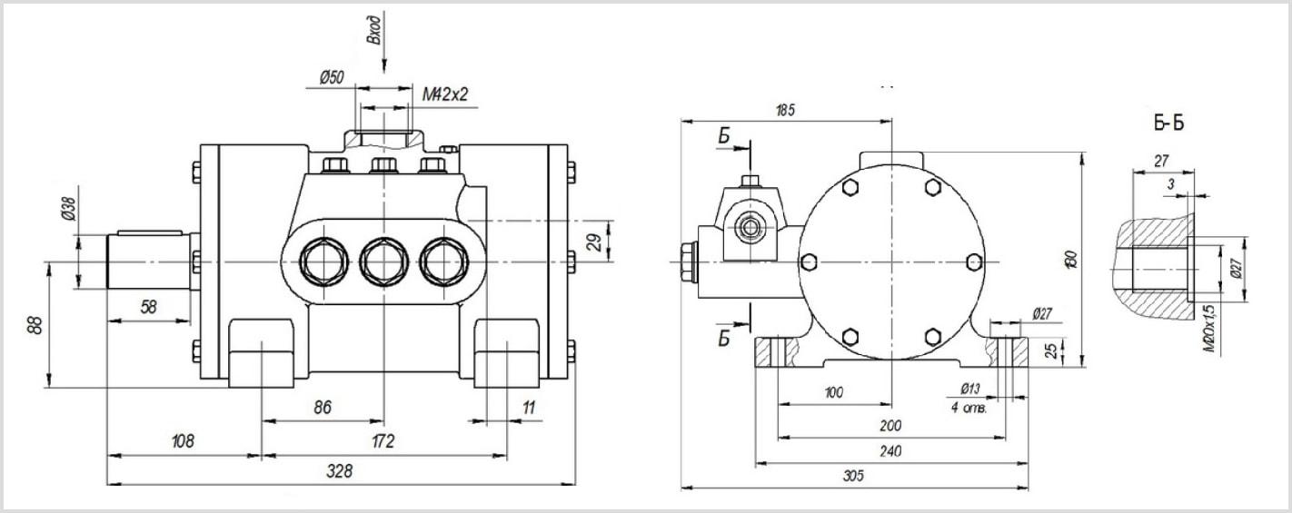Габаритные размеры и чертеж гидравлического эксцентрикового насоса Н401У УХЛ4 для подачи СОЖ. Фото