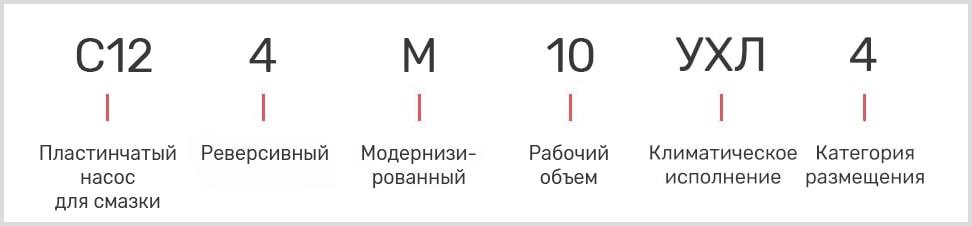 Расшифровка маркировки масляного смазочного насоса С12-4М-10 УХЛ4 с реверсом