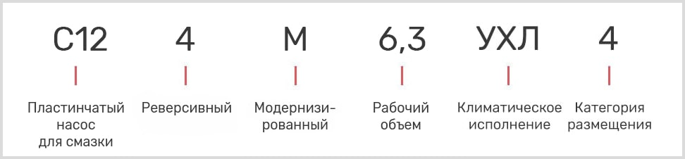Расшифровка маркировки масляного смазочного насоса С12-4М-6,3 УХЛ4 с реверсом