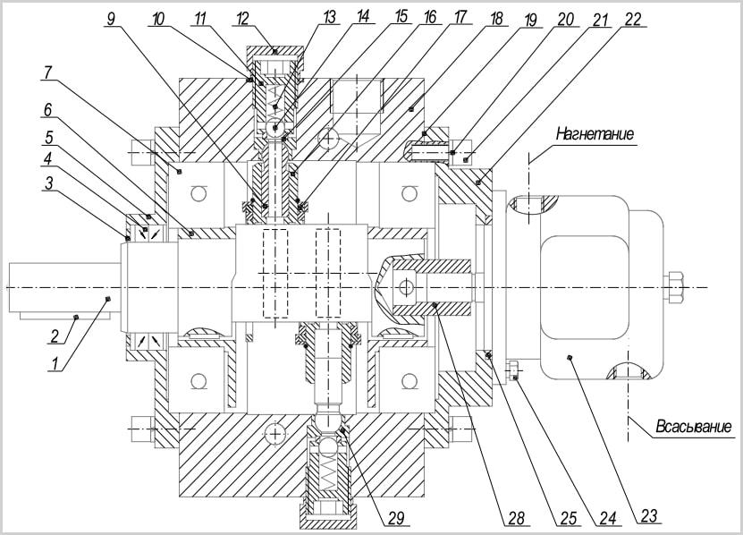 чертеж с размерами, шириной и диаметрами маслонасоса 50нр и 50нс из руководства по эксплуатации