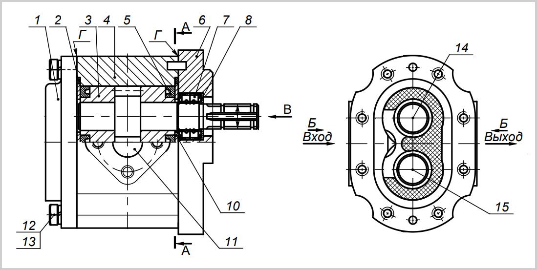 Детал и устройство гидронасоса НШ16