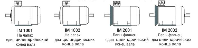 IM1003 IM1004 IM2003 IM2004 электродвигателя МТКН 411-6 - лапы, фланец, конический вал