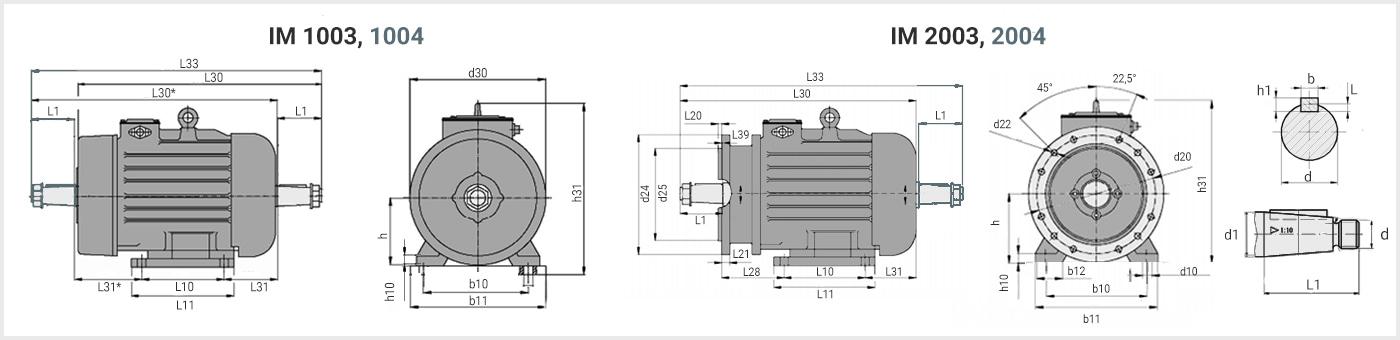 Чертеж с габаритными размерами кранового электродвигателя 4MTH 280S8