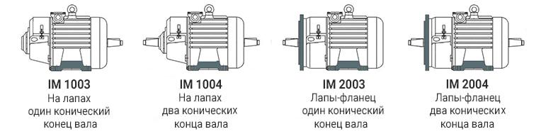 IM1003 IM1004 IM2003 IM2004 электродвигателя МТН 613-10 - лапы, фланец, конический вал