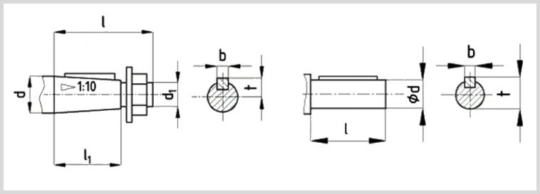 Чертеж двухступенчатого соосного МЦ2С-100 с размерами конических и цилиднрических валов