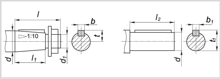 Чертеж цилиндрического и конического вала редуктора МЧ-80
