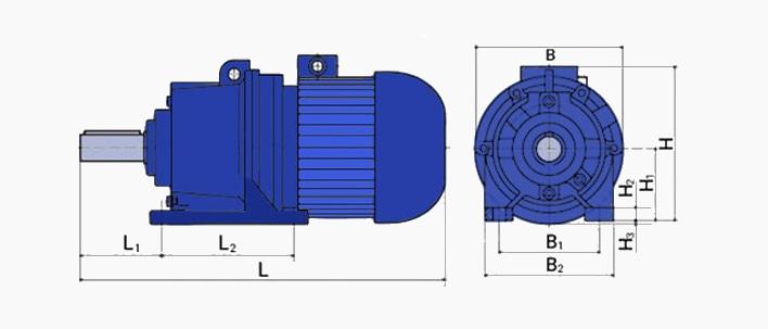 Габаритные размеры мотор-редуктора 3МП