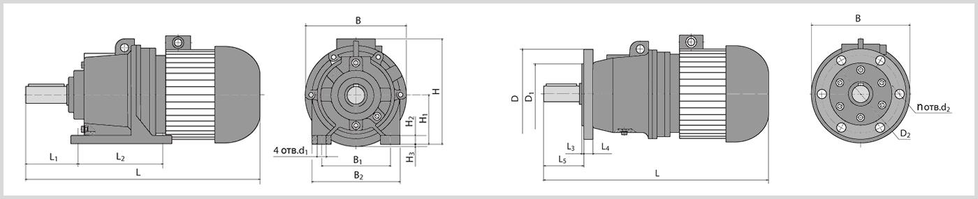 Чертеж мотор-редуктора 3мп-50 с габаритными размерами