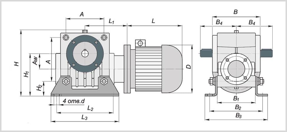 чертеж и присоединительные размеры червячного тихоходного мотор-редуктора мч-80