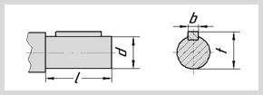Диаметр цилиндрического вала и размер шпонки 3мп-50