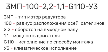 Расшифровка маркировки мотор-редуктора 3мп-100