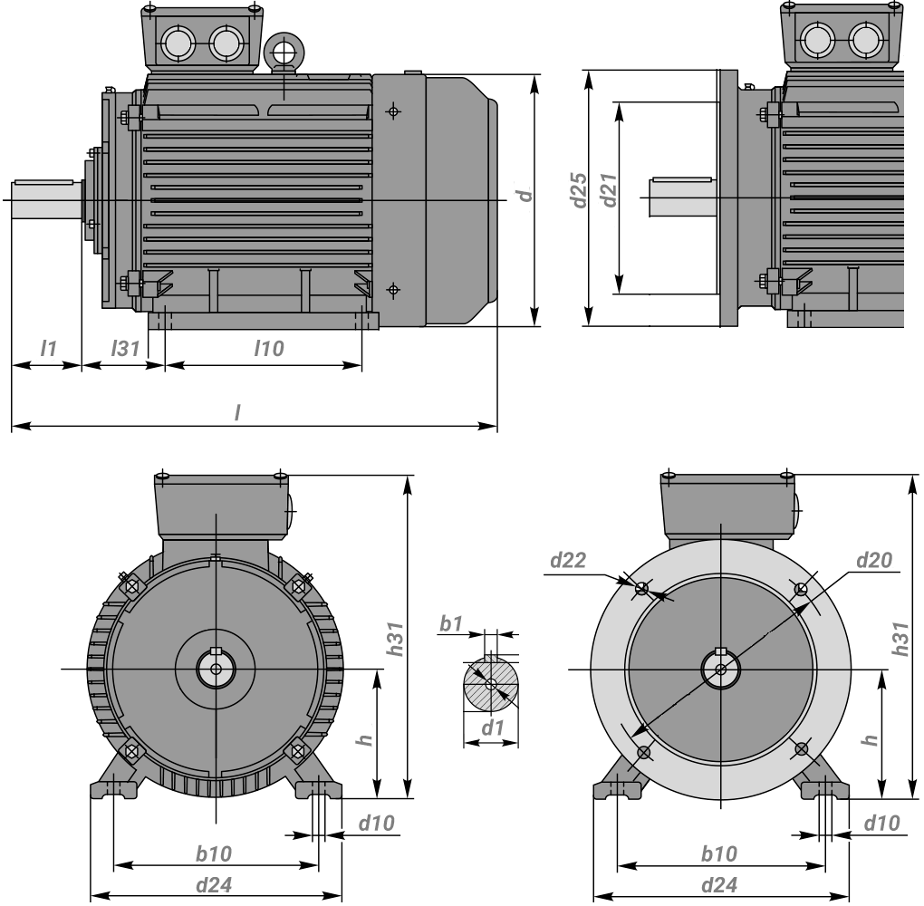 Чертеж и крепежные размеры электродвигателя 11 кВт 1500 об/мин диаметр вала