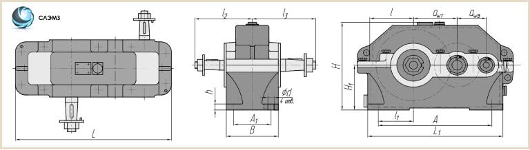 Габариты редуктора ц2у-100 чертеж