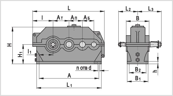 Чертеж и диаметр тихоходного и быстроходного вала редуктора ц3у-355