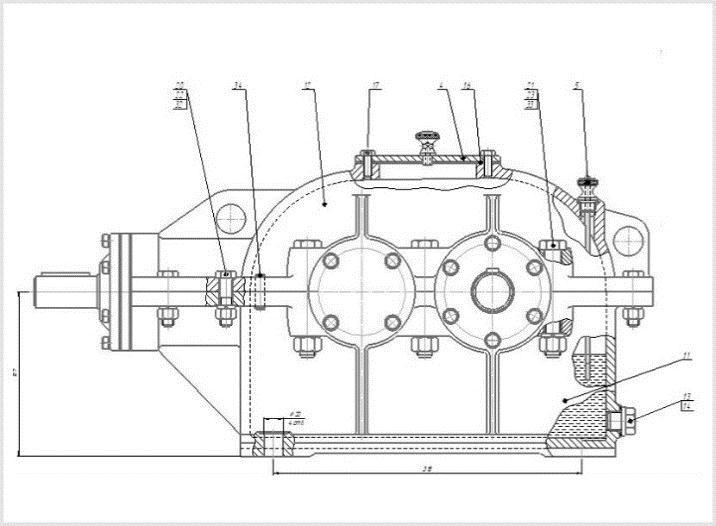 устройство двухступенчатого редуктора кц-1
