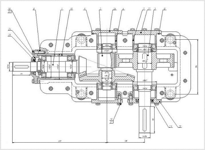 чертеж и размеры коническо-цилиндрического редуктора кц1