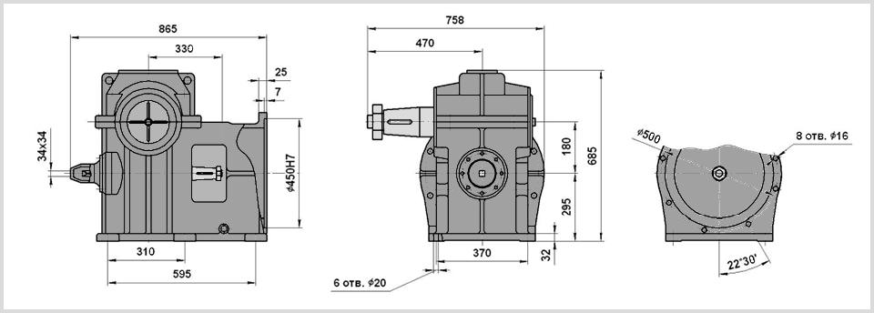 Чертеж и размеры конического вала лифтового редуктора ргл-180