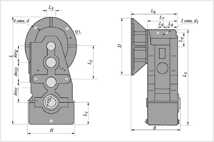 Чертеж и диаметр тихоходного и быстроходного вала редуктора в200