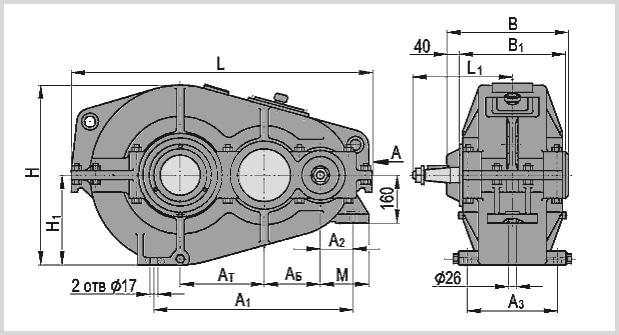 Чертеж и диаметр тихоходного и быстроходного вала редуктора гпш-400