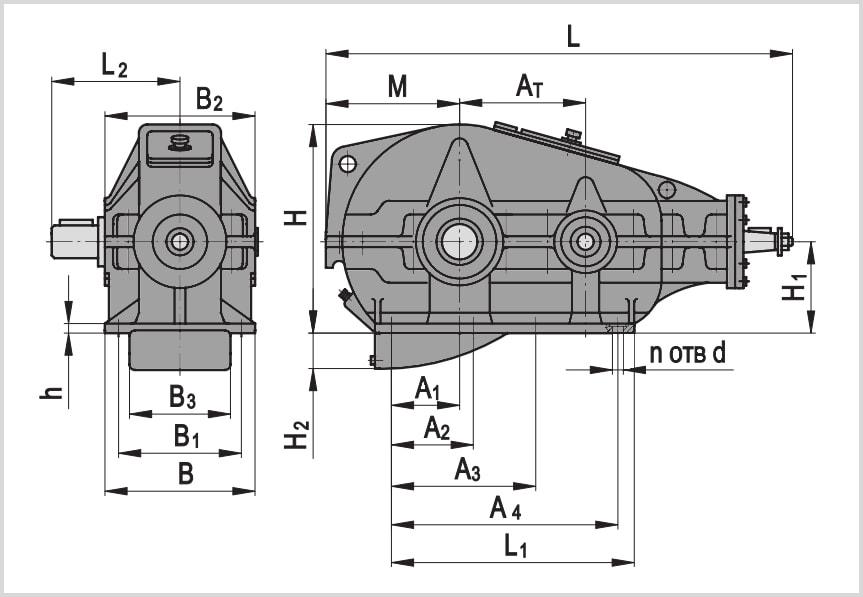 Чертеж и диаметр тихоходного и быстроходного вала редуктора кц1-400