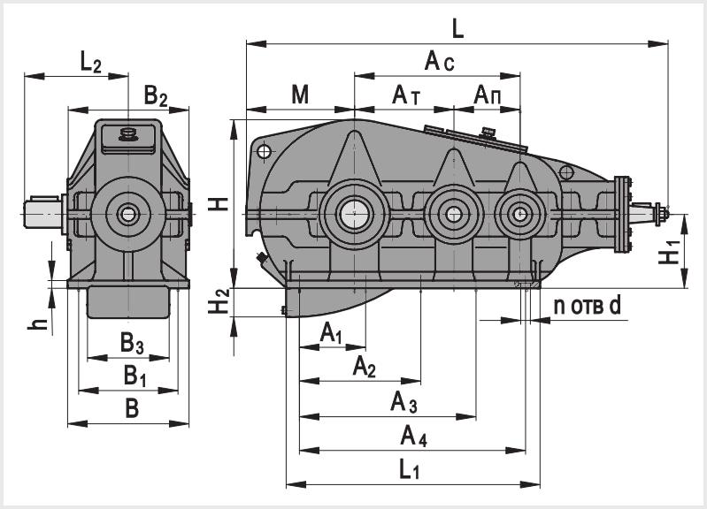 Чертеж и диаметр тихоходного и быстроходного вала редуктора кц2-1300