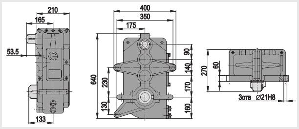 Чертеж и диаметр тихоходного и быстроходного вала редуктора в400