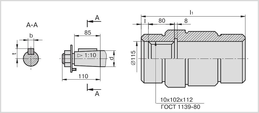 размеры конического и полого шлицевого вала редуктора гпш-400