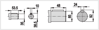 цилиндрическое исполнение редуктора в-200. входной и выходной. быстроходный, тихоходный вал вал
