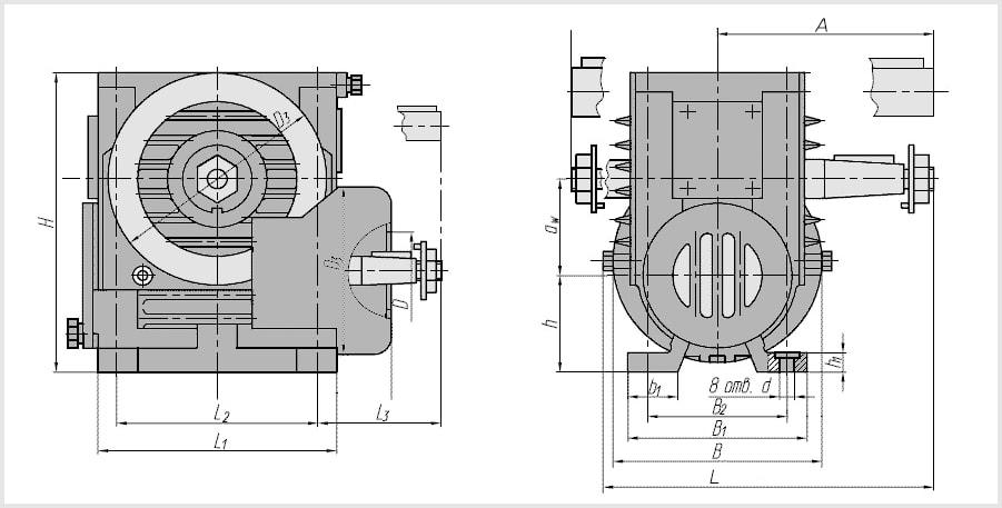 Чертеж и диаметр тихоходного и быстроходного вала редуктора 2Ч-40
