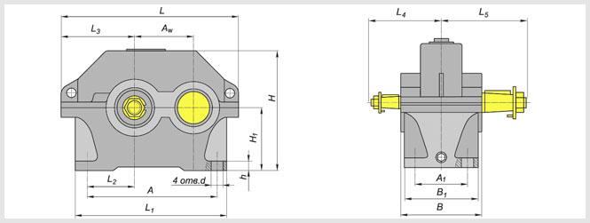 Чертеж и диаметр тихоходного и быстроходного вала редуктора ЦУ-250