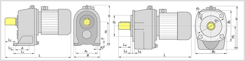 Чертеж цилиндрического двухступенчатого соосного мотор-редуктора МЦ2С