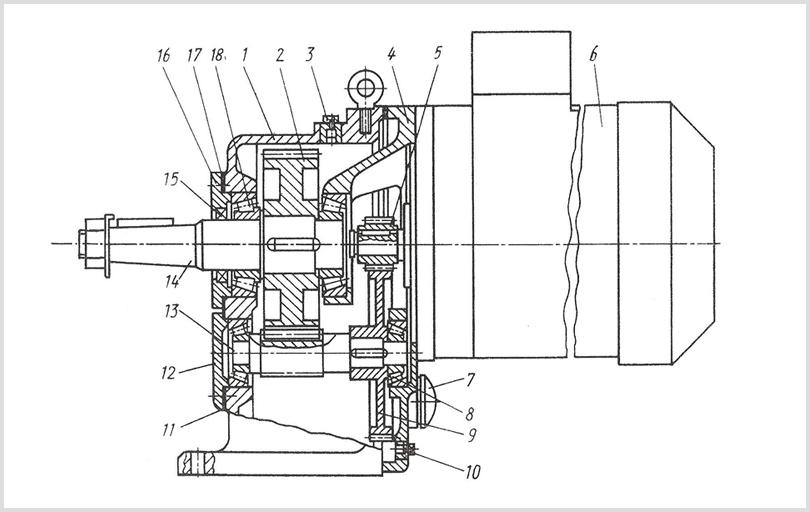 устройство цилиндрического двухступенчатого соосного мотор-редуктора мц2с