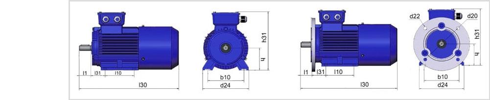 Четреж электродвигателя с тормозом