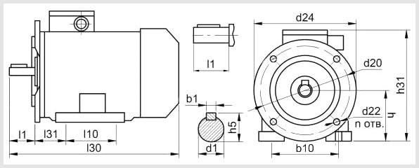 габаритные размеры электродвигателей аир с фланцем