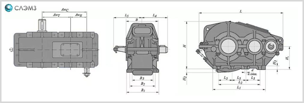Габаритные размеры редуктора РМ-250 чертеж